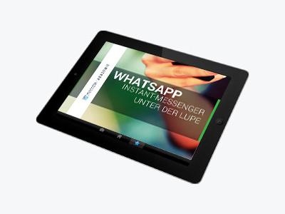 Tablett mit Bild zum Thema Whatsapp Instantmessenger unter der Lupe