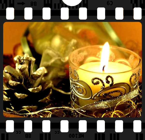 Titelbild zu Filme zu Weihnachten, winterliche Kerze