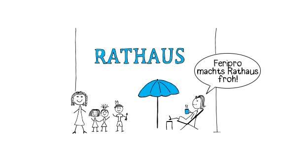 """Feripro Comic Ausschnitt """"Rathaus"""" Gruppe von glücklichen Kindern und entspannte Mutter mit Sprechblase """"Feripro machts Rathaus froh!"""""""
