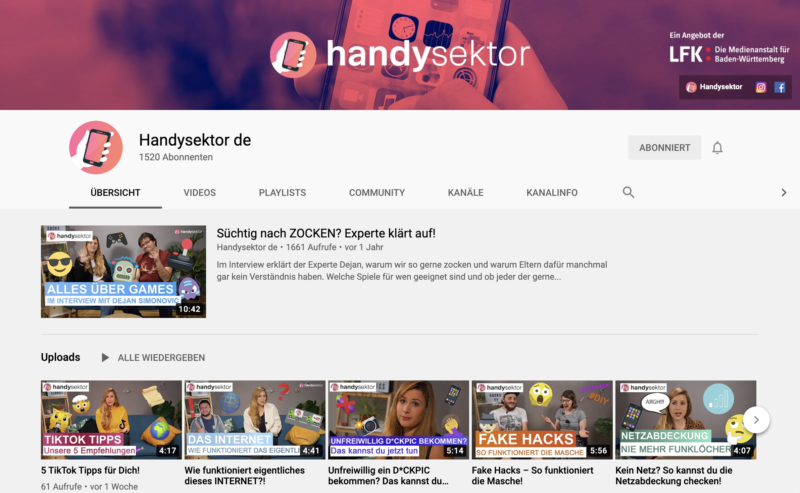 Handysektor YouTube-Kanal