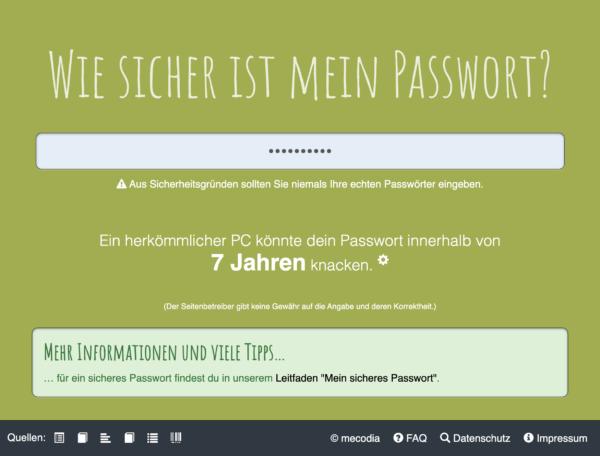 Screenshot von CheckDeinPasswort.de